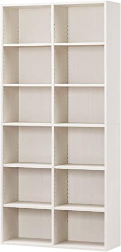 胸を打つ白井産業ラック 本棚 ホワイト 白木目 約 幅90 奥行30 高さ180 cm (AMZ-1890WH)